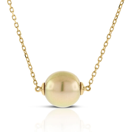 Golden South Sea Cultured Pearl Necklace 11mm, 18K