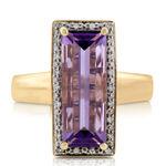 Baguette Amethyst & Diamond Ring 14K