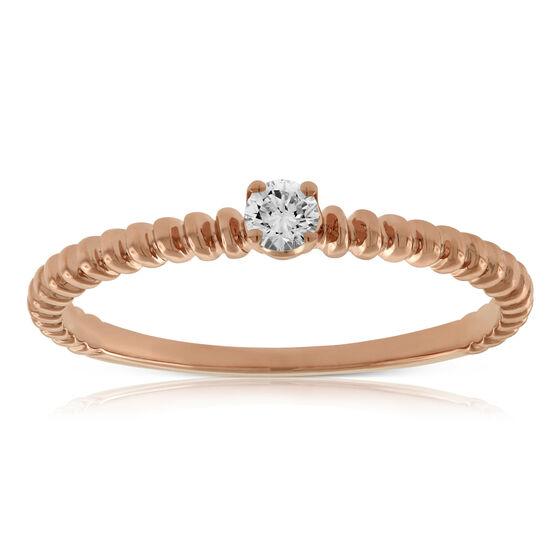 Rose Gold Beaded Diamond Ring 14K