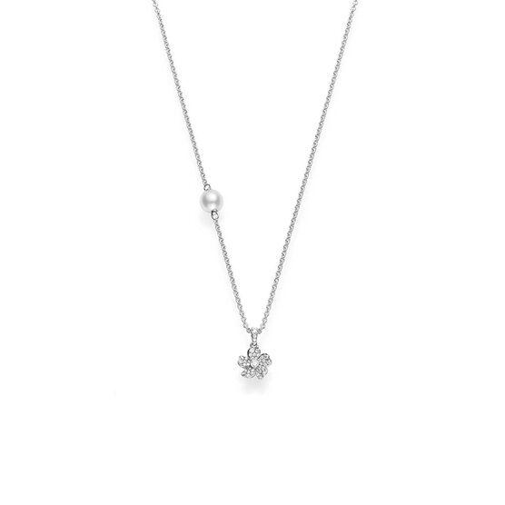 Mikimoto Akoya Cultured Pearl & Diamond Cherry Blossom Necklace 18K