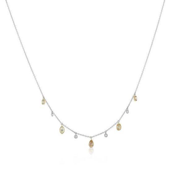 Brown & White Diamond Dangle Necklace 14K