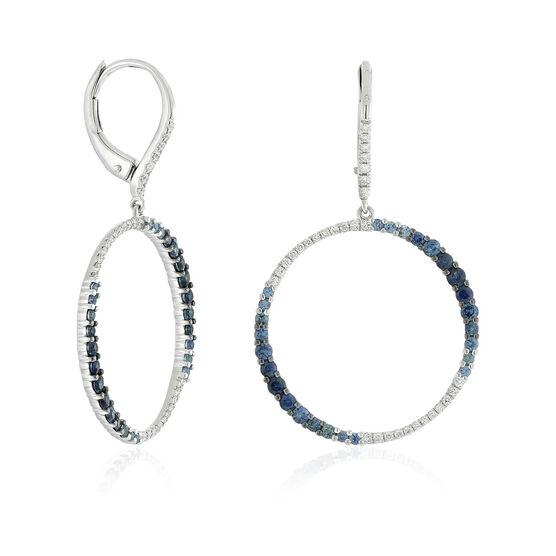 Sapphire & Diamond Circle Earrings 14K