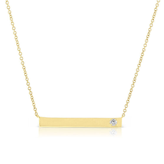Ikuma Canadian Diamond Bar Pendant in 14K Yellow Gold