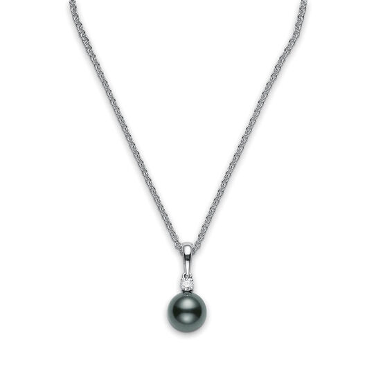 Mikimoto Black South Sea Cultured Pearl & Diamond Pendant, 9mm, A+, 18K