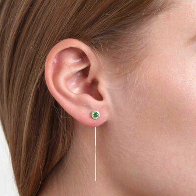 Peridot & Diamond Halo Threader Earrings 14K