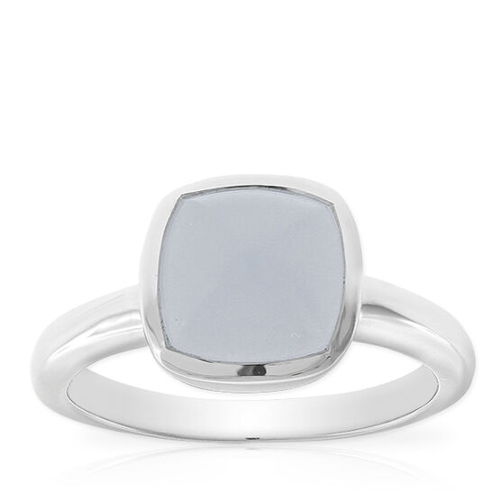Lisa Bridge Blue Chalcedony Sugarloaf Ring in Sterling Silver