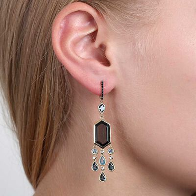 Blue Topaz, Black Sapphire & Diamond Earrings 14K