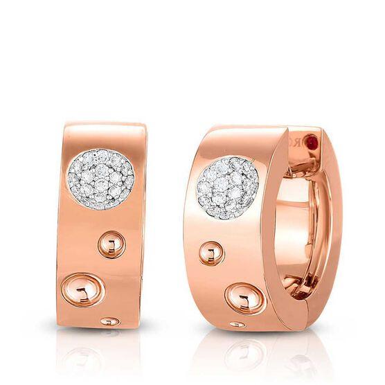 Rose Gold Roberto Coin Pois Moi Luna Small Diamond Hoop Earrings 18K