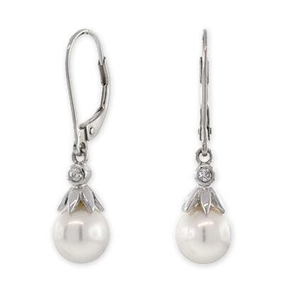 Freshwater Cultured Pearl & Diamond Dangle Earrings 14K