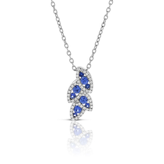 Sapphire & Diamond Halo Leaf Pendant 14K