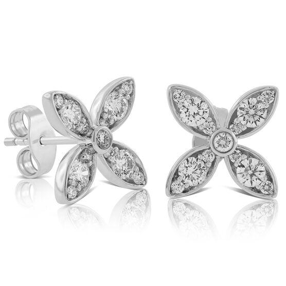 Diamond Flower Earrings 14K