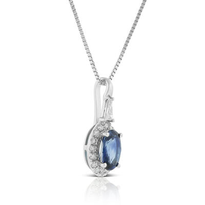 Oval Sapphire & Diamond Halo Necklace 14K