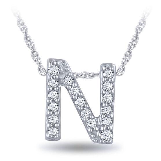 Diamond Initial Pendant 14K Letter 'N'