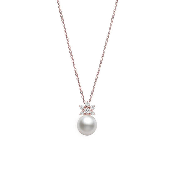 Mikimoto Akoya Cultured Pearl & Diamond Star Necklace 18K