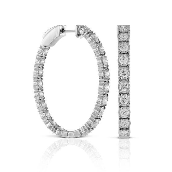 Diamond Oval Hoop Earrings 14K, 2.5 ctw.