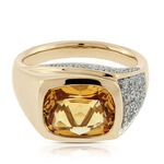 Cushion Citrine & Diamond Ring 14K