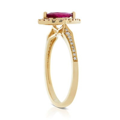 Marquise Ruby & Diamond Halo Ring 14K