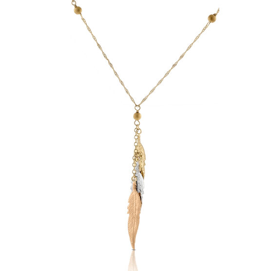 """Feathers Necklace 14K, 17"""""""