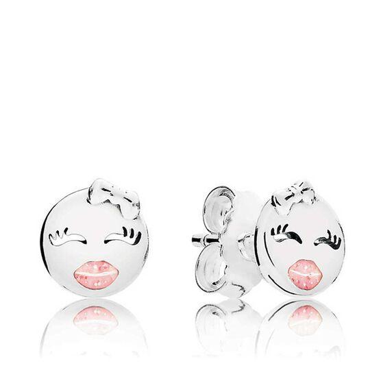 PANDORA Playful Wink Pink Enamel Earrings
