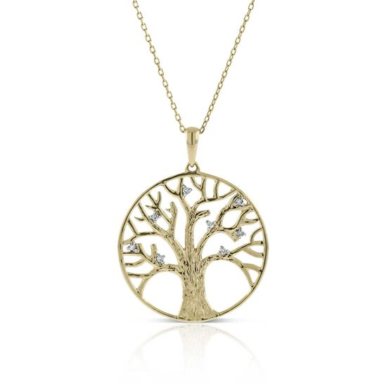 Tree of Life Diamond Circle Pendant 14K