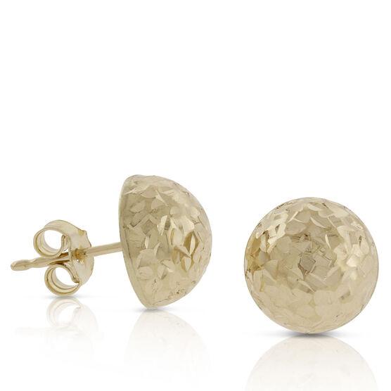 Toscano Diamond Cut Domed Earrings 18K