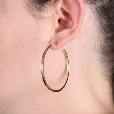 Square Tube Hoop Earrings 14K