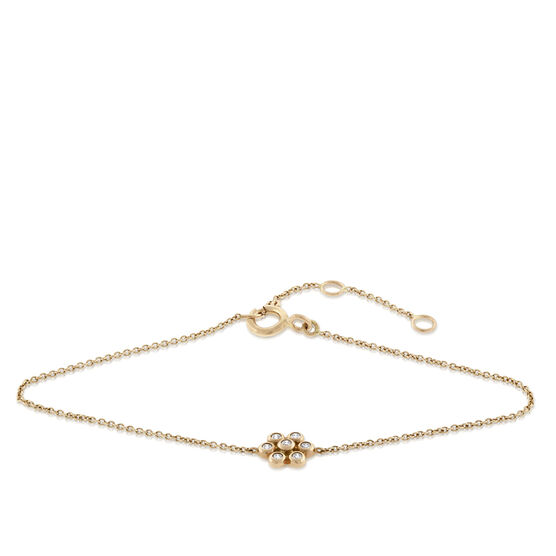 Rose Gold Floral Diamond Bracelet 14K