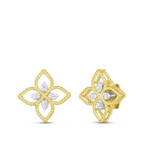 Roberto Coin Principessa Small Diamond Flower Earrings 18K