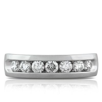 Men's Channel Set Diamond Wedding Band 14K