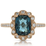 London Blue Topaz & Diamond Ring 14K Rose