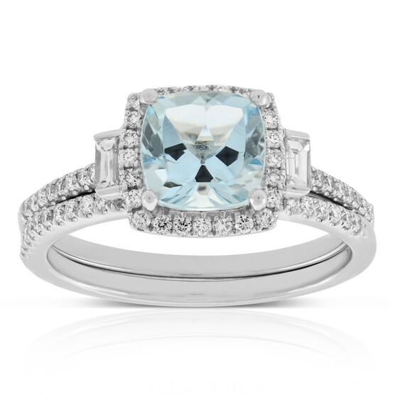 Aquamarine & Diamond Bridal Set 14K
