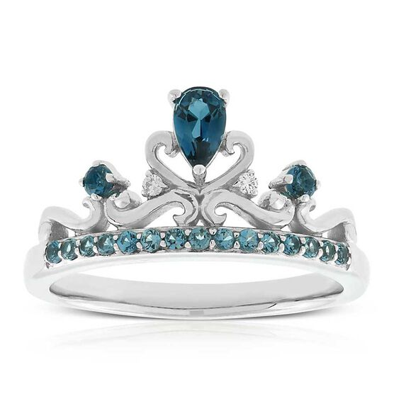 Blue Topaz & Diamond Crown Ring 14K