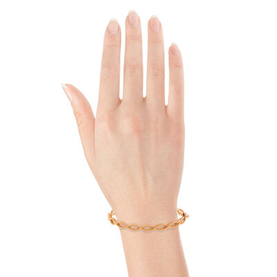 Rose Gold Roberto Coin New Barocco 1-Row Bangle 18K