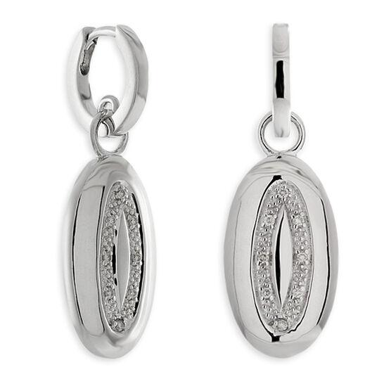 Diamond Oval Disc Dangle Earrings in Sterling Silver
