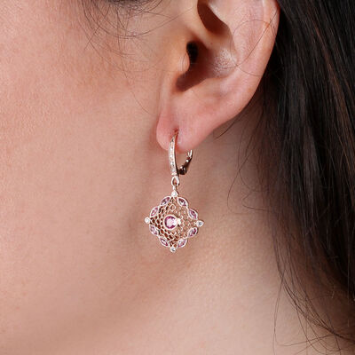 Rose Gold Pink Sapphire & Diamond Earrings 14K