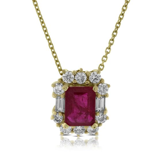 Ruby & Diamond Halo Pendant 14K