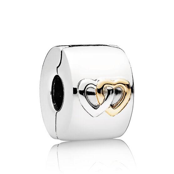 Pandora Hearts Aglow Clip, Silver & 14K