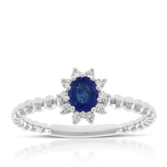 Oval Sapphire & Diamond Halo Ring 14K