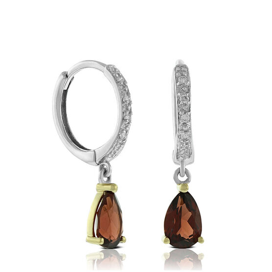 Two-Tone Pear-Shaped Garnet & Diamond Earrings 14K