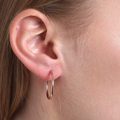 Rose Gold Smooth Hoop Earrings 14K