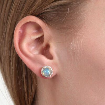 Opal & Diamond Stud Earrings 14K