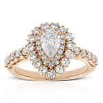Rose Gold Double Halo Pear Diamond Ring 14K