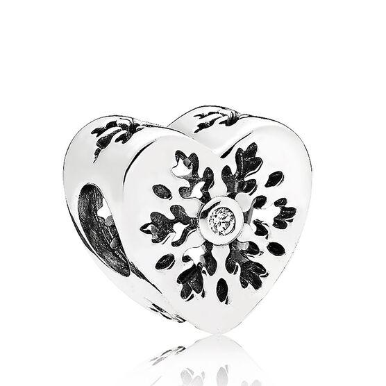 PANDORA Snowflake Heart CZ Charm