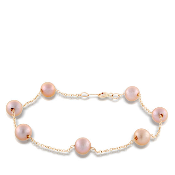 Rose Gold Freshwater Cultured Pearl Tin Cup Bracelet 14K