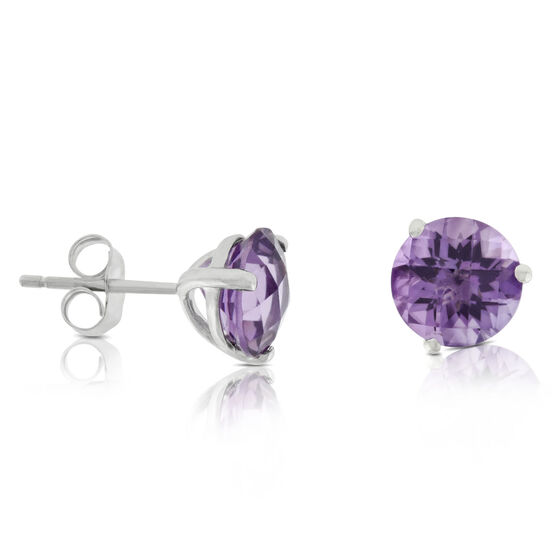 Checkered Amethyst Earrings 14K, 6mm
