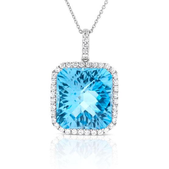 Octagonal Blue Topaz & Diamond Pendant 14K
