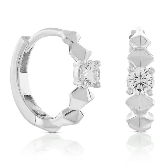 Jade Trau for Signature Forevermark Diamond Huggie Hoop Earrings in Platinum