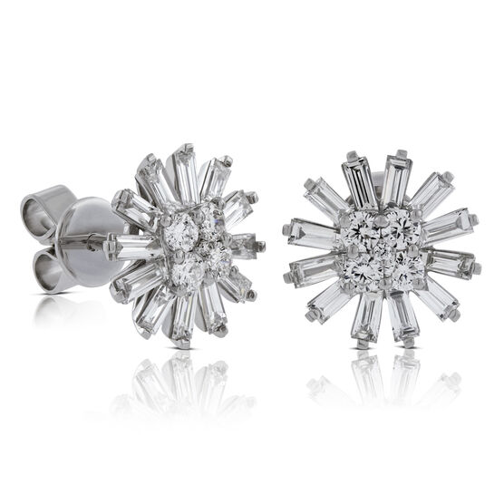 Diamond Flower Earrings 14K, 1.38 ctw.