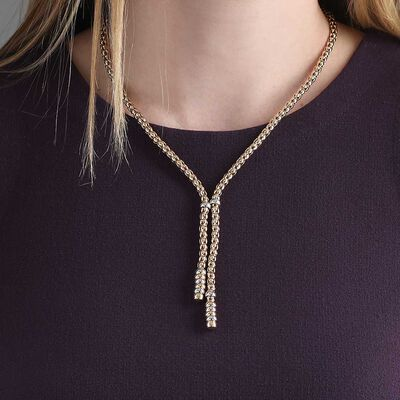 Toscano Beaded Lariat Necklace14K