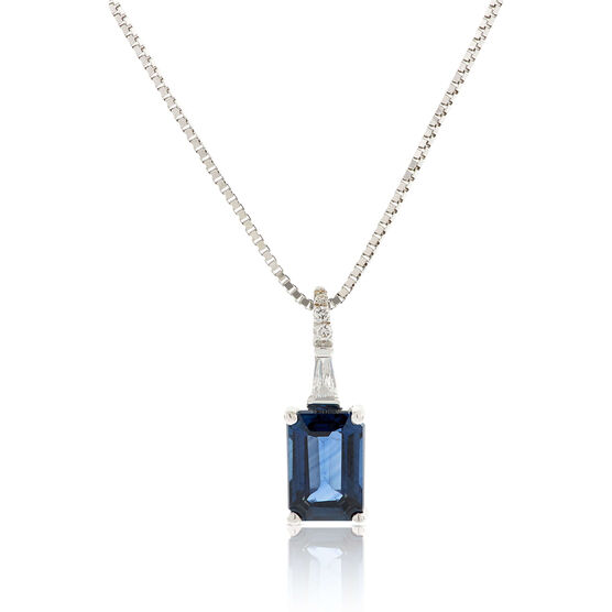 Emerald Cut Sapphire & Diamond Necklace 14K